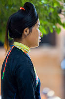 Biasha Miao Ethnic Minority Woman Bun Hairstyle