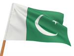 flag fluttering in the wind. Pakistan. 3d