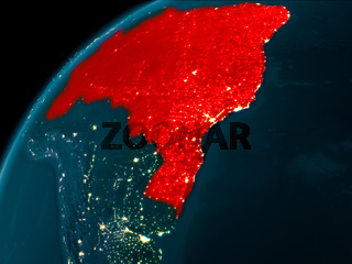 Brazil at night on Earth