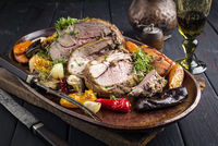 Leg of Lamb with Vegetables and Fruits