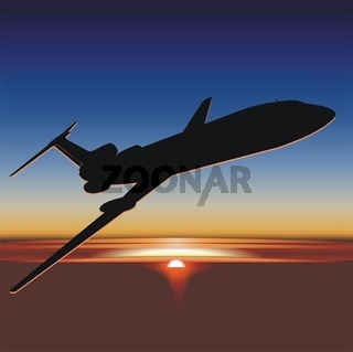 aircraft silhouette at sunrise