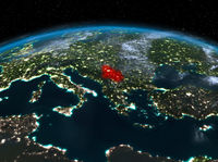 Serbia from space at night