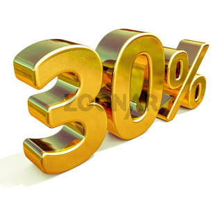 3d Gold 30 Percent Discount Sign