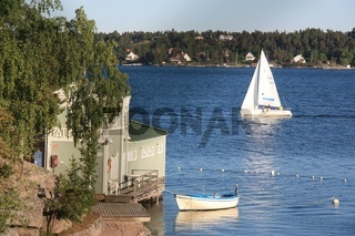Old swimming bath with sailing boat Sveden