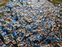Aerial of famous blue city Chefchaouen