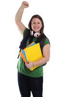 Studentin Erfolg erfolgreich Freude glücklich jung lachen Freisteller