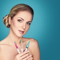 beautiful girl getting beauty injections