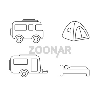 Camping and Caravan Icon Set