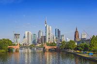 Frankfurt city skyline at business district, Frankfurt, Germany