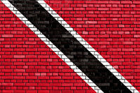 flag of Trinidad and Tobago painted on brick wall
