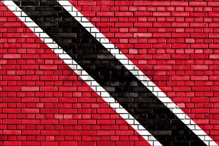 flag of Trinidad and Tobago painted on brick wall