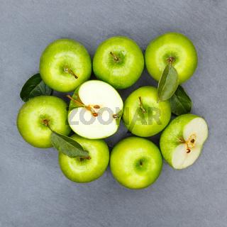 Äpfel Apfel grün Obst Schiefertafel Frucht Früchte Quadrat von oben