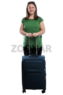 Urlaub junge Frau mit Koffer Gepäck Reise reisen Freisteller isoliert freigestellt