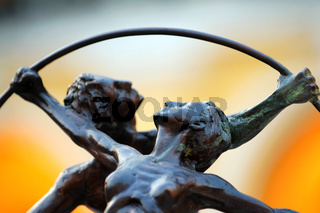 Close up shot of gymnast (bronze) figurines