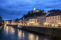 Evening panorama of riverfront of Ljubljana, Slovenia.