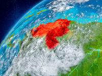 Space view of Venezuela in red