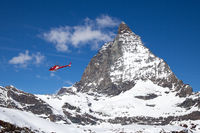Helicopter next to Matterhorn
