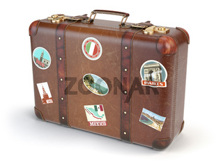 Retro suitcase beggage with travel stickers isolated on white background.