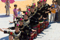 Miao Women Festival Dancing Village Square