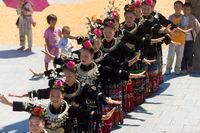 Miao Women Festival Dancing Village Square