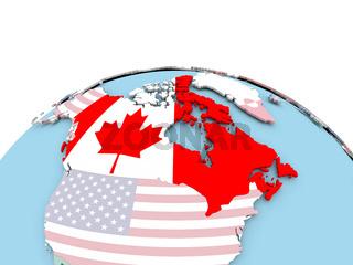 Flag of Canada on bright globe
