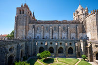 Cathedral (Se) of Evora with the cloister circumjacent the interior courtyard. Evora. Portugal.