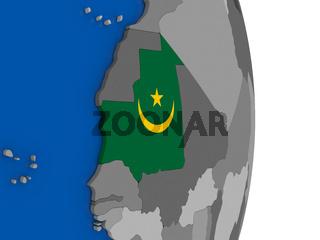 Mauritania on globe with flag