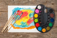 Abstract painting and watercolor palette