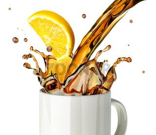 Pouring lemon tea splashing into a glass mug.