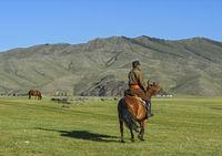 Mongolischer Reiter im Orchon-Tal
