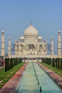 Taj Mahal with reflecting pool in Agra, Uttar Pradesh, India