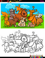 cats and dogs characters group coloring book