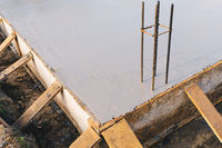 concrete slab with steel reinforcement bars