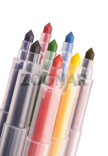 Close up colorful markers