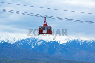Cable railway and high mountain