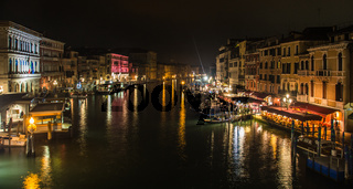 Canal in venice by night, in Italy, view from the Rialto bridge