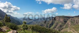 Panorama von Landschaft mit Gebirge in Tejeda, Gran Canaria