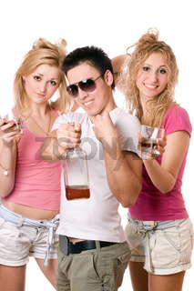 Cheerful young people with a bottle