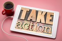 take action motivation concept on tablet