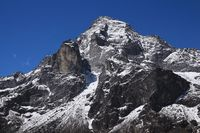 Mount Khumbi Yul Lha also named Khumbila. God in the Sherpa culture. Everest National Park, Nepal.