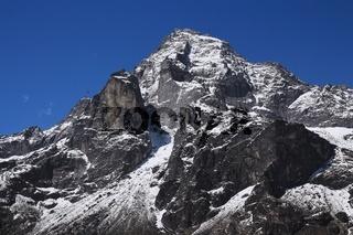 Mount Khumbi Yul Lha also named Khumbila. God in the Sherpa culture. Everest National Park, Nepal.
