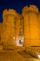Rhodes Old City By Night, Castle Gate, Greece