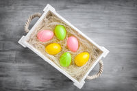 Traditional Easter holiday basket full of eggs