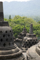 Ancient stupa at Borobudur is a 9th-century Buddhist Temple in Yogyakarta