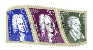 Stamps from the GDR, Bach, Haendel, Schuetz