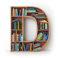 Letter D. Alphabet in the form of shelves with books isolated on white.