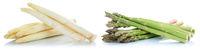 Weißer weisser und grüner Spargel weiss weiß grün frisch Gemüse Freisteller freigestellt isoliert