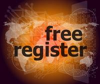 digital background with free register word. global internet concept