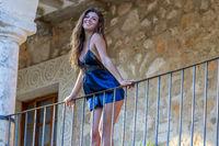 Sexy Lingerie Hispanic Brunette Model Enjoying A Sunny Day