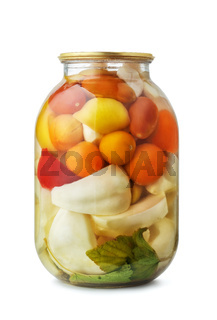 Jar of assorted pickled vegetables